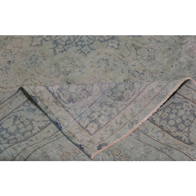 """1940s Boho Chic Persian Kerman Blue Wool Rug - 9'7""""x12'9"""" For Sale In New York - Image 6 of 7"""