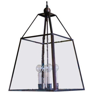 "Customizable ""Scioto"" Hand-Crafted Brass and Glass Lantern For Sale"