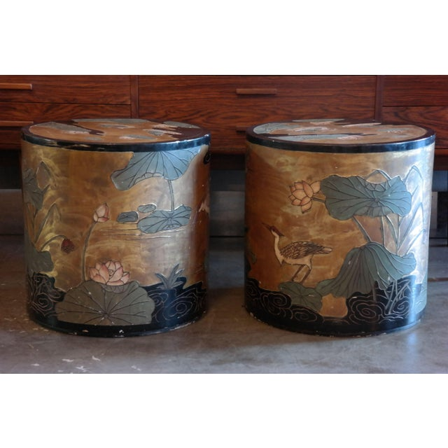 Asian Hand Painted Side Tables - A Pair - Image 2 of 6