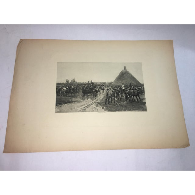 A beautiful 1881 Lithograph of Edouard Detaille art of a military scene. Wonderful details and great tones. Actual art...