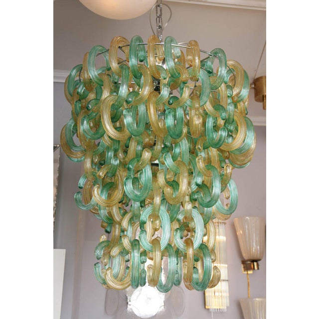 "Murano Glass Green and Gold ""C"" Link Chandelier For Sale - Image 4 of 9"