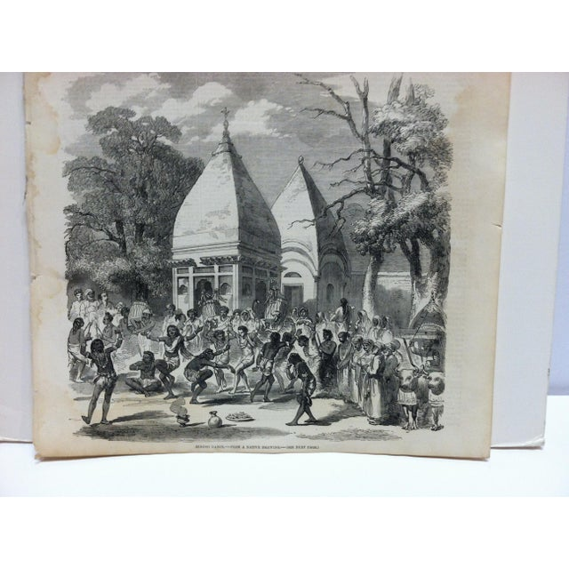 """This is an Antique Original Print from The Illustrated London News that is titled """"Hindoo Dance"""" and is dated December 19,..."""
