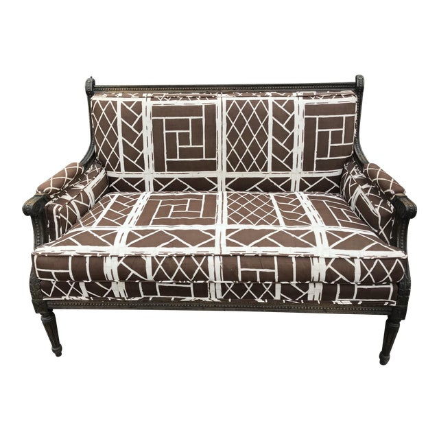 French Settee in Vintage Chippendale Fabric - Image 1 of 6