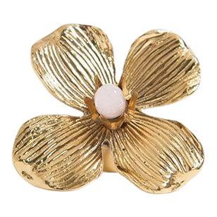 "Addison Weeks Dogwood 3"" Custom Knob - Polished Brass & Rose Quartz For Sale"