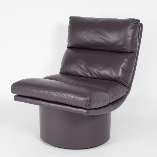 Mid-Century Modern Eggplant Leather Scoop Chairs on Swivel Bases, Circa 1980s For Sale - Image 3 of 13