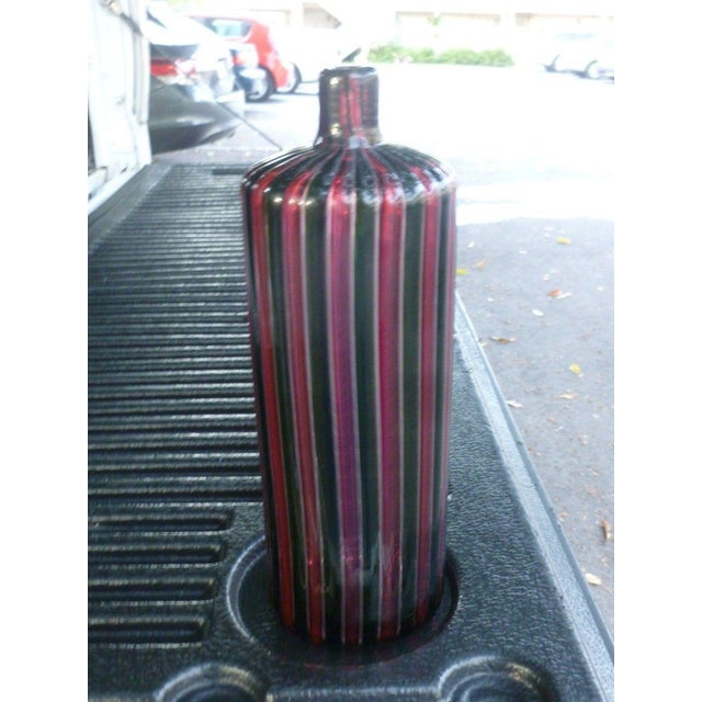 1960s Italian Murano Signed Venini Multi Striped Bottle For Sale - Image 11 of 13