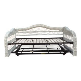 White Wicker Twin Daybed With Trundle For Sale