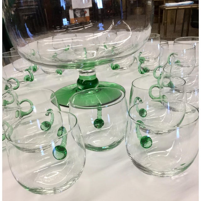 Mid Century Modern Hand Blown Glass Punch Set - 25 Pieces For Sale - Image 4 of 13