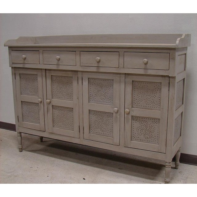 Gray Paint Vintage Style Hutch Server Pie Cabinet - Image 2 of 4