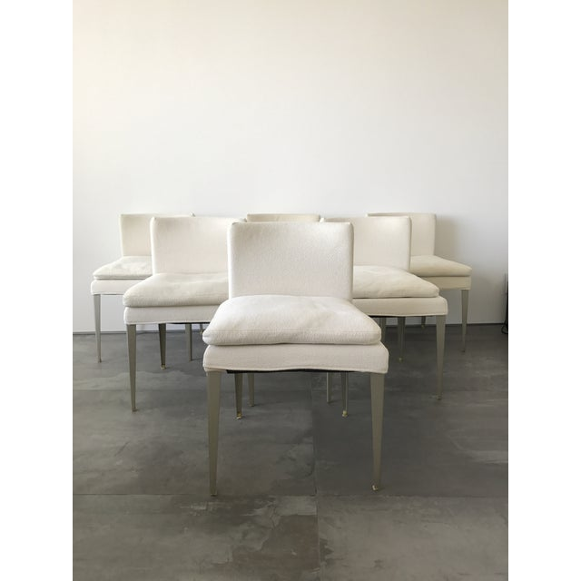 Off-white modern Eunice dining chairs by Maxalto. Good shape ... no tears or stains. Velcro covered they are easy to clean...