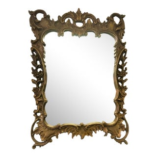 Rococo Style Statement Mirror With Faux Gilt Finish For Sale