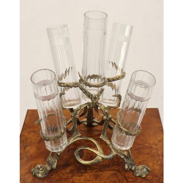 Metal Art Nouveau 5 Branches Center Piece Cut Glass Vases For Sale - Image 7 of 13