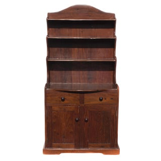 Antique Railroad Hand Carved Red Jarrah Wood Bookcase For Sale