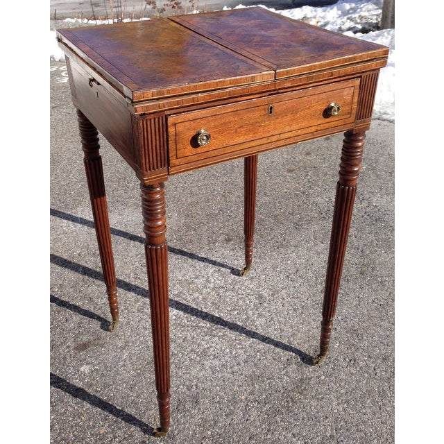 Period Georgian Writing Table and Side Table --Sheraton Form --Top Opens to Reveal Original Leather Writing Surface...
