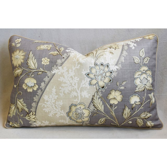 "Floral Linen & Velvet Feather/Down Pillows 26"" X 16"" - Pair For Sale In Los Angeles - Image 6 of 12"