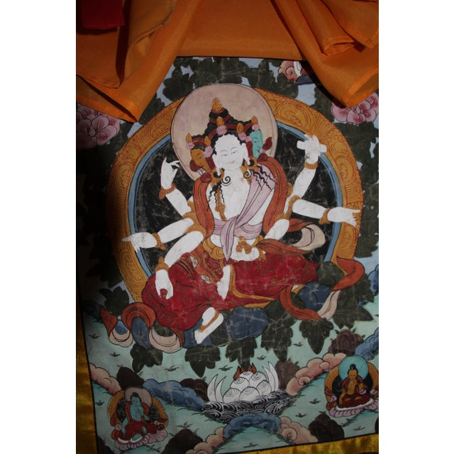 Asian Tibetan Silk Tapestry Wall Hanging For Sale - Image 3 of 6