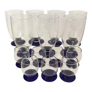 Vintage Cobalt Footed Glasses - Set of 14 For Sale