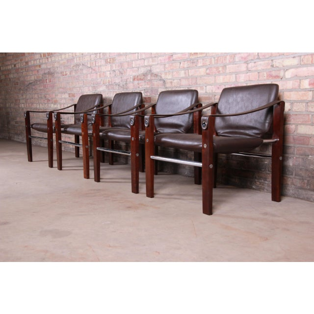 Maurice Burke for Pozza Mahogany and Leather Safari Chairs, Set of Four For Sale In South Bend - Image 6 of 13