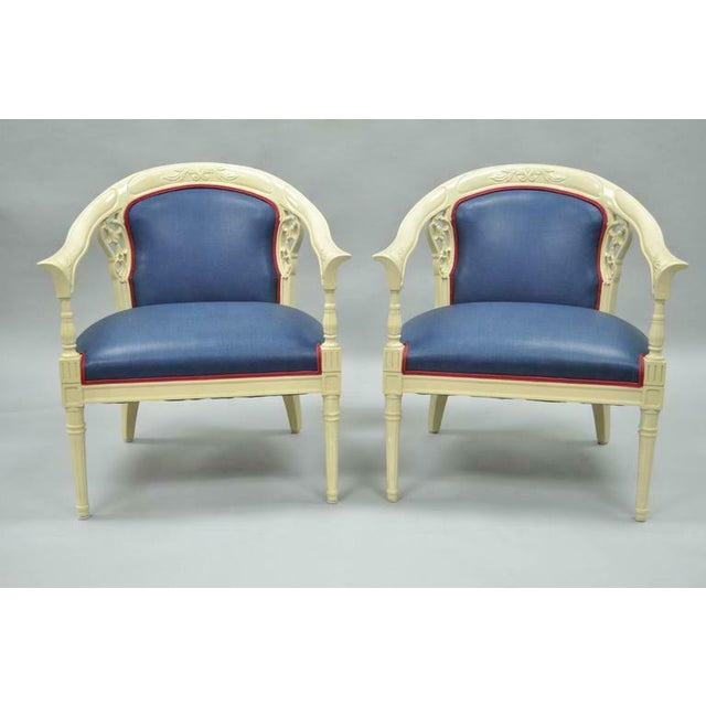 Elegant pair of vintage Hollywood Regency / Chinoiserie barrel back armchairs. Item features shapely rounded frames, bell...