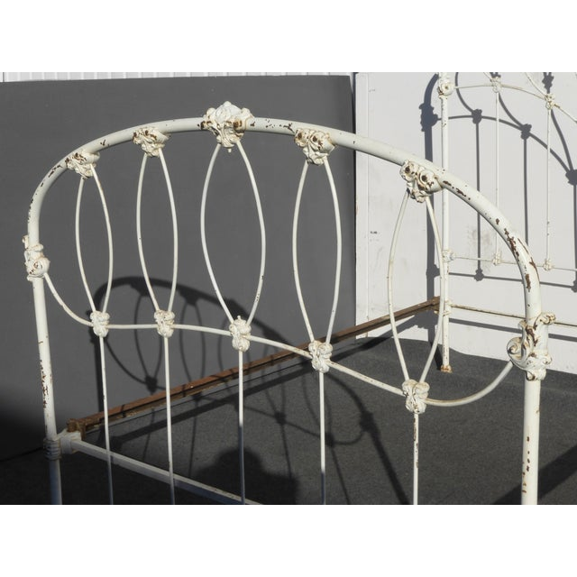 Antique French Country Full Iron Bed Frame Farmhouse Chic Headboard - Image 7 of 11