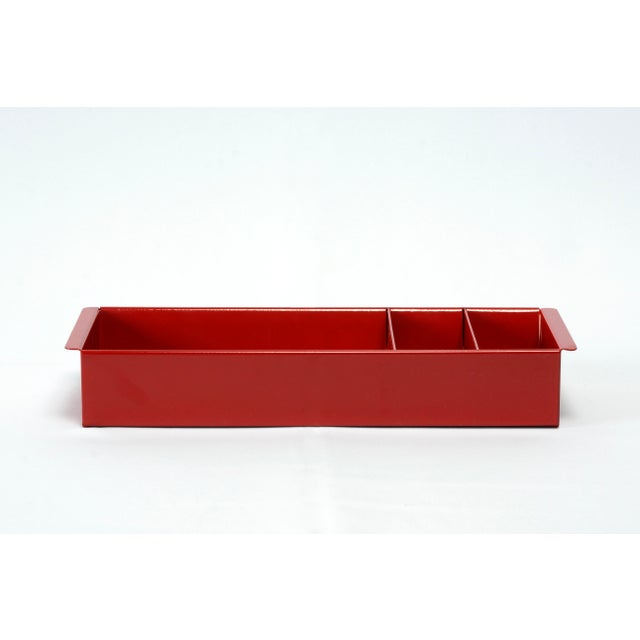1960s Image 0 Image 1 Image 2 Image 3 Image 4 Image 5 Image 6 Steel Tanker Drawer Insert Repurposed as Desktop Organizer, Refinished in Ruby Red For Sale - Image 5 of 8