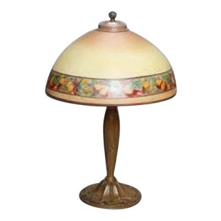 Antique Arts & Crafts Pittsburgh School Bronze Reverse Painted Lamp, circa 1920 For Sale