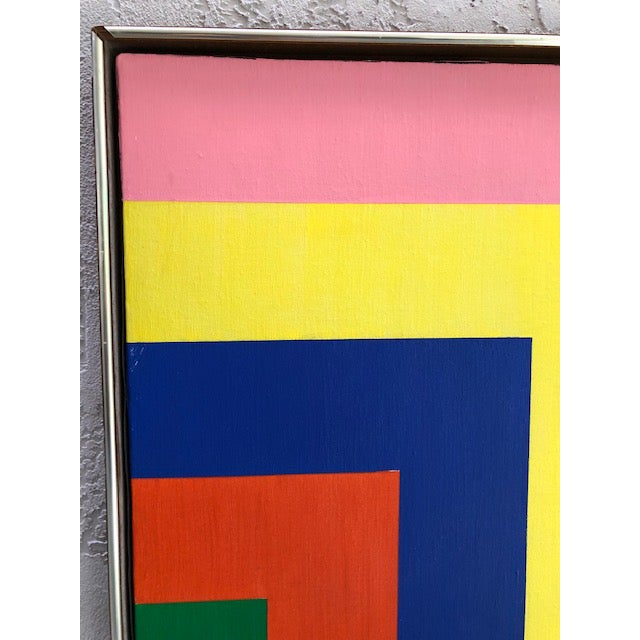 Green 1970s Vintage Large Opt Art Painting For Sale - Image 8 of 9