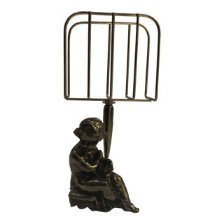 Vintage Mid-Century Bronze Cherub Letter Holder For Sale