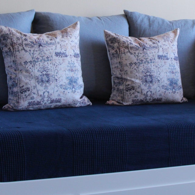 Boho Chic Vintage Turkish Blue Print Pillow Covers - A Pair For Sale - Image 3 of 6