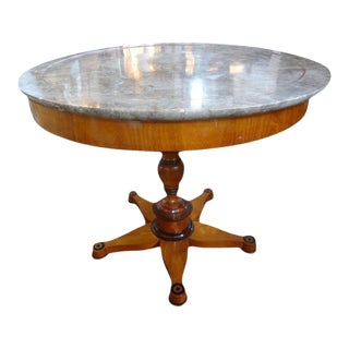 Early 19th Century French Charles X Center Table With Marble Top For Sale
