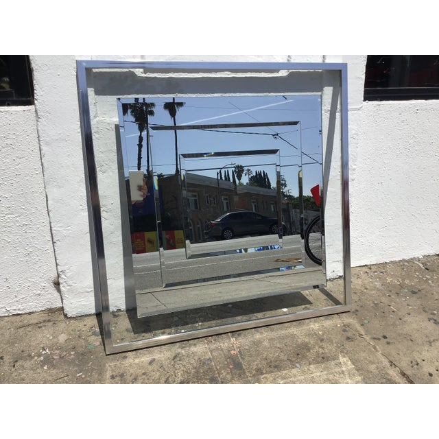 """The coolest 1980s mirror with 3 panels of mirror stacked on top one another for a 3D effect. glass """"mat"""" between mirror..."""