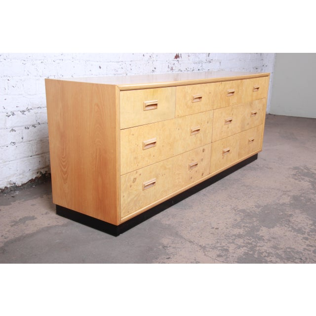 Mid-Century Modern Milo Baughman Style Burl Wood Long Dresser or Credenza by Henredon For Sale - Image 3 of 13