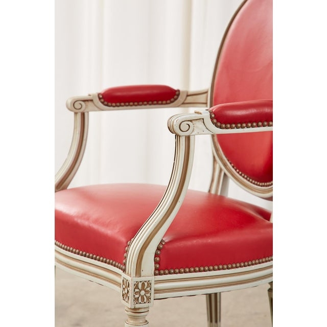Set of Ten French Louis XVI Style Painted Dining Chairs For Sale - Image 9 of 13