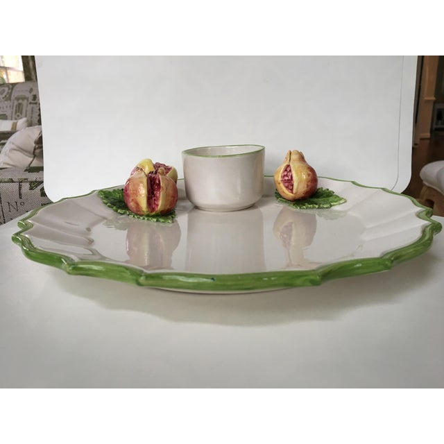 Green Italian Trompe l'Oeil Scalloped Serving Platter With Pomegranates For Sale - Image 8 of 13