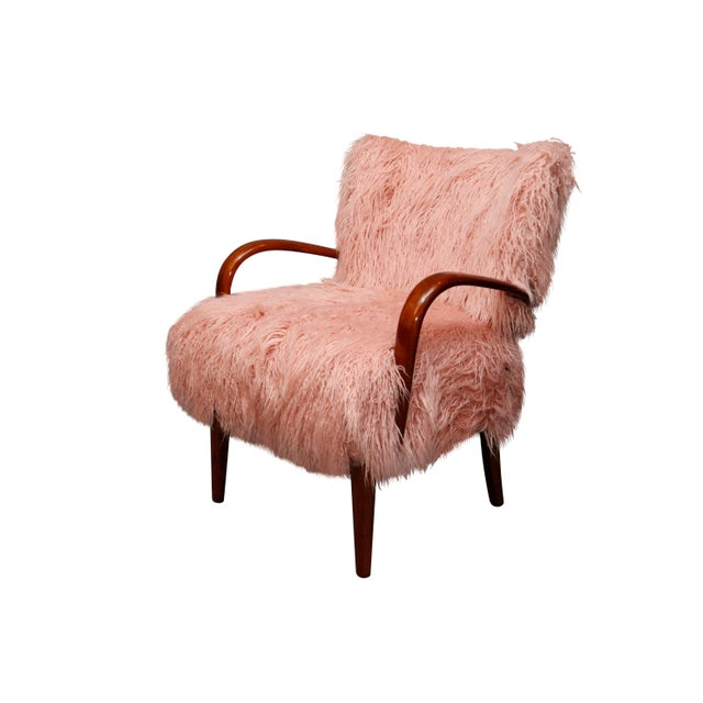 Hollywood Regency Mid-Century Curated Danish Curved Arm Lounge Chair For Sale - Image 3 of 10