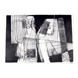 Modernist Figures in Black & White, Stone Lithograph, Circa 1950