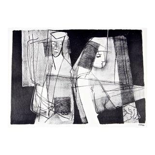 Modernist Figures in Black & White, Stone Lithograph, Circa 1950 For Sale