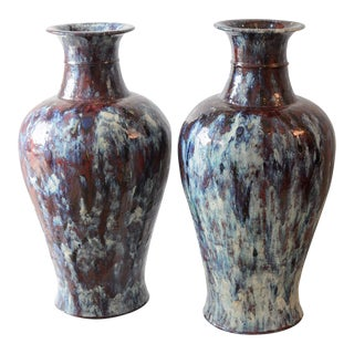 "19th C. Glazed Ceramic, Terra Cotta, 29"" High, Vases , A-Pair For Sale"