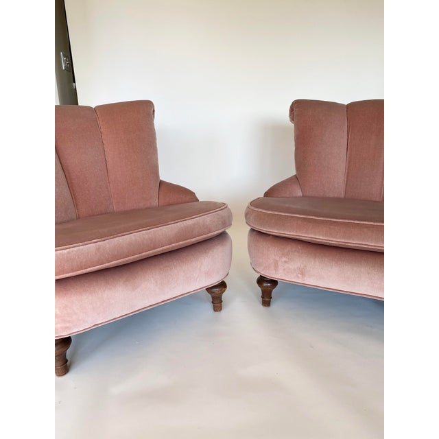 1940s 1940's Vintage Pink Easy Lounge or Slipper Chairs in Velvet - a Pair For Sale - Image 5 of 10