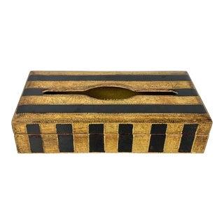 Italian Florentine Black Stripe Gold Gilt Wood Tissue Box For Sale