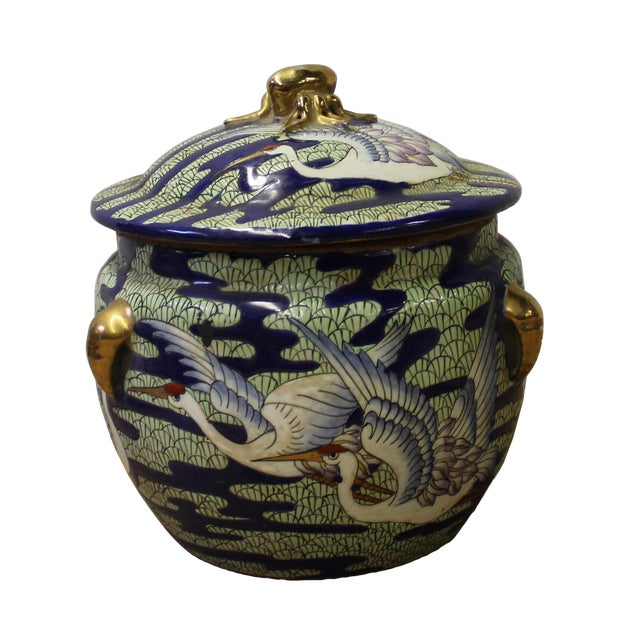 Chinese Oriental Porcelain Crane Scenery Container Box For Sale