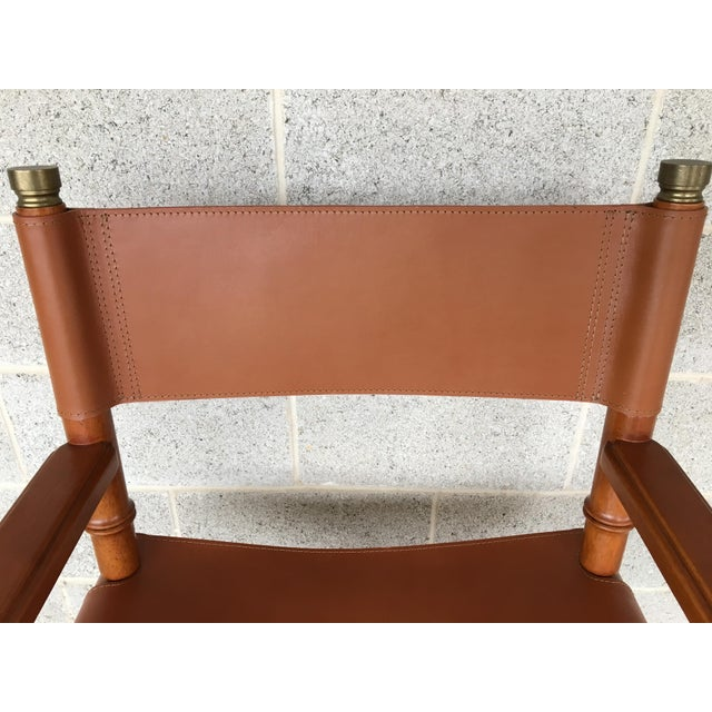 Faux Bamboo Leather Directors Chair With Brass Accents For Sale - Image 5 of 8
