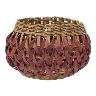 Vintage Hand-Woven Wicker Indian Basket by Sherri For Sale