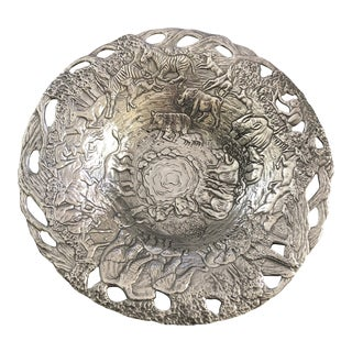Vintage Arthur Court Cast Aluminum Exotic Animal Safari Serving Bowl For Sale