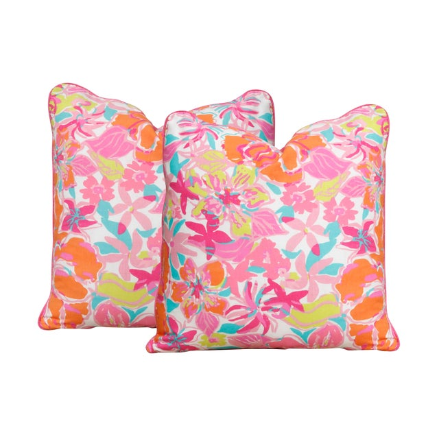 53646b80a9c0c2 Lilly Pulitzer's Besame Mucho Feather/Down Pillows - a Pair | Chairish