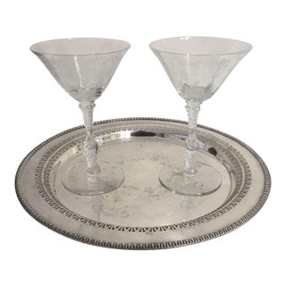 Service for 2 Antique Martini Glasses & Silver Plate Tray - Set of 3 For Sale