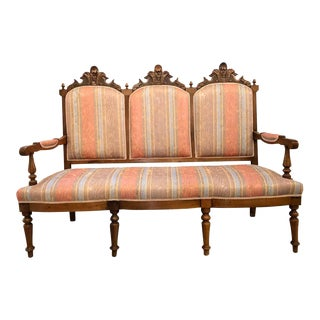 Eastlake Victorian Canape Sette in New Fabric For Sale