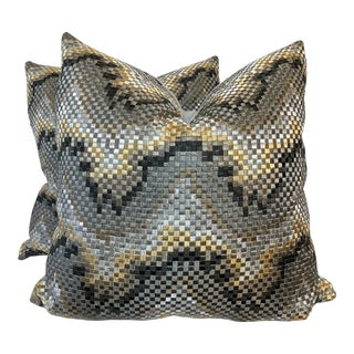 """Bargello Embroidered 22"""" Pillows -A Pair For Sale"""
