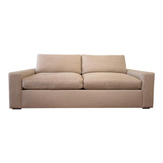 Modern Custom Made Linen Upholstered Down Filled Sofa For Sale