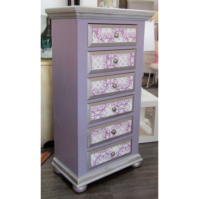 Contemporary Boho Chic Broyhill Lavender Pine Highboy/Lingerie Chest For Sale - Image 3 of 5